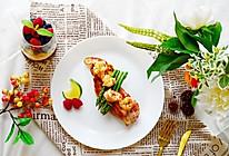 黑椒鲜虾煎芦笋配全麦包-低脂营养全能早餐的做法