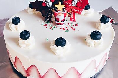 圣诞草莓冻芝士蛋糕8寸版