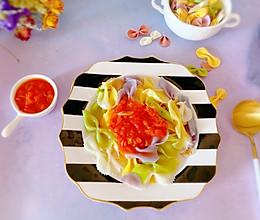 #白色情人节限定美味#轻食餐-番茄蔬菜蝴蝶面的做法