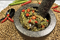 无油黑料理•辣椒皮蛋擂茄子的做法