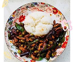 营养美味的茄子炒肉丝毛豆 盖浇饭的做法