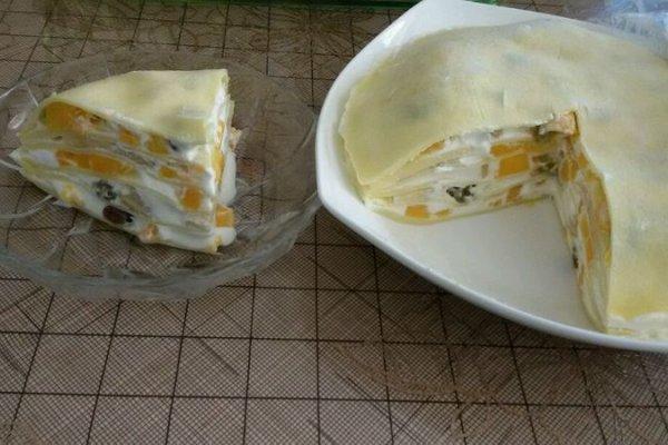 芒果蜜豆千层蛋糕的做法