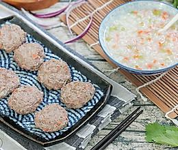 牛肉团子 × 芹菜胡萝卜粥的做法