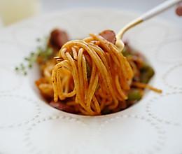 酸酸哒可开胃了!算是日本料理的「拿波里意面」的做法