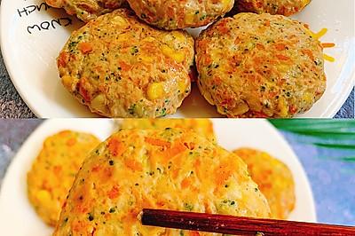 一口可以吃好几种蔬菜的鸡胸肉饼,超低脂