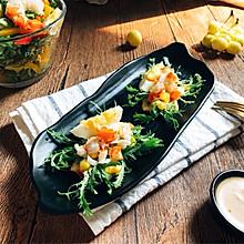 减脂快手冷餐 苏打饼三明治 红虾鸡蛋沙拉早餐