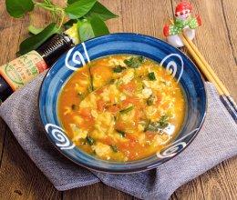 挤面器版西红柿玉米疙瘩汤的做法