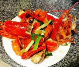 姜葱炒龙虾的做法