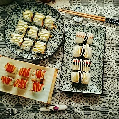 黄桃肉松里卷寿司(反卷,手握)