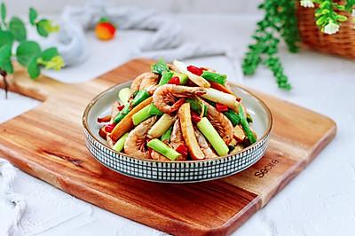 青蒜香干炒红虾