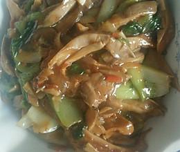 磨菇炒油菜的做法