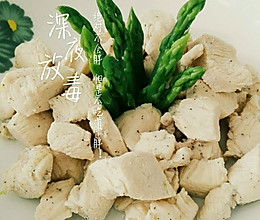 瘦身圣餐水煮鸡胸肉配芦笋的做法