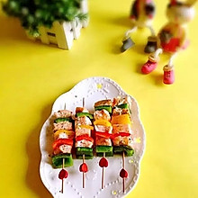 彩椒三文鱼串
