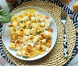 #憋在家里吃什么#馒头鸡蛋火腿肠披萨的做法