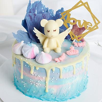 屏霸ins的蛋糕界新晋网红--清新渐变天使娃娃滴落蛋糕