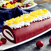 细腻润滑的红丝绒蛋糕卷