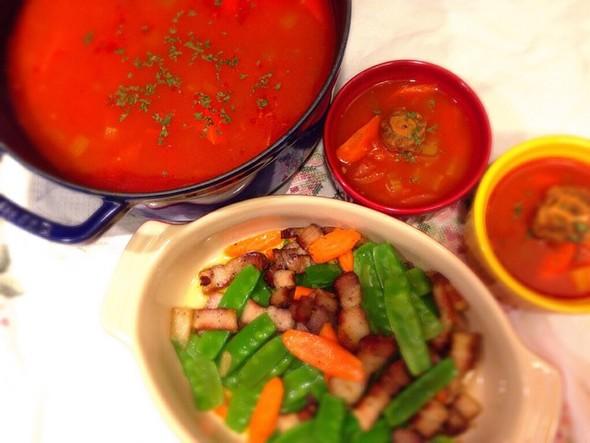 罗宋牛尾汤+荷兰豆炒腊肉