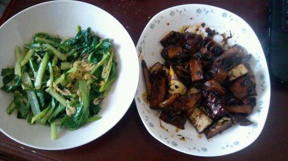 油焖春笋,虾皮小白菜