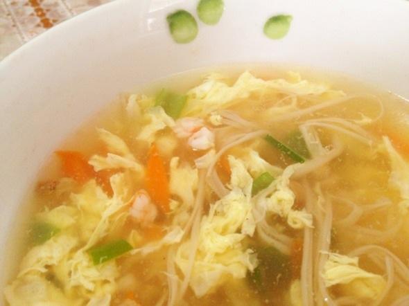 金胡虾蛋汤