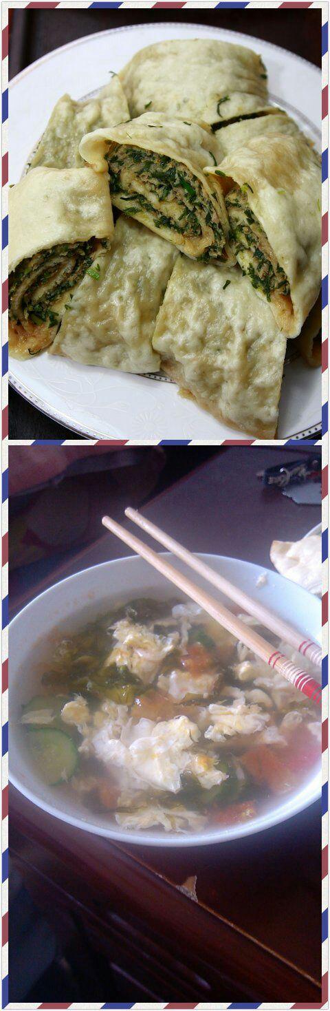 肉龙,西红柿鸡蛋紫菜汤