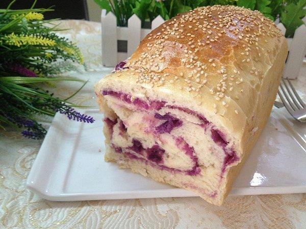 芝麻紫薯面包卷的做法