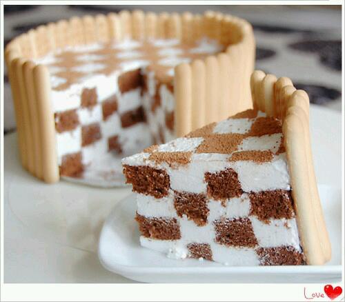 经典黑白格棋格蛋糕的做法