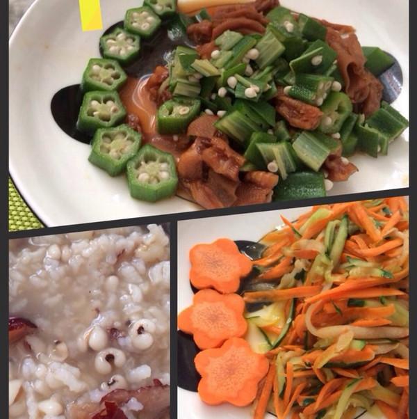 芥末秋葵鸭掌,清炒三丝,薏米红枣粥的做法