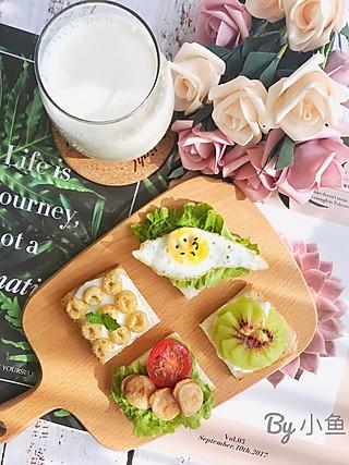 小鱼爱吃鱼呀的开放式三明治🥪+牛奶🥛 周末愉快