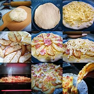 wuyidodo的用新疆馕饼的胚剩作美式土豆土香肠披萨