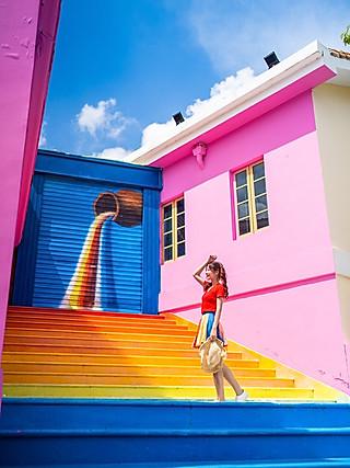 小小小起司的🌈彩虹楼梯🎨七彩古村👉周末去这里打卡刷爆朋友圈!