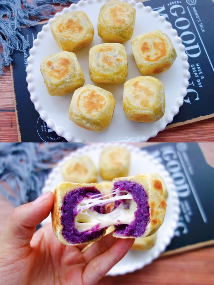 ㊙️平底锅就能搞定❗️一口爆浆的网红紫薯芝士仙豆糕❗️图1