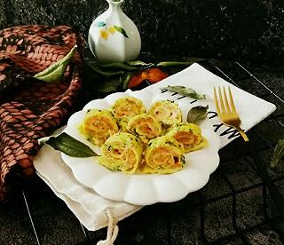 """优雅的长围巾的鲜虾蔬菜蛋卷#""""蒸""""功夫美食大赛 #"""