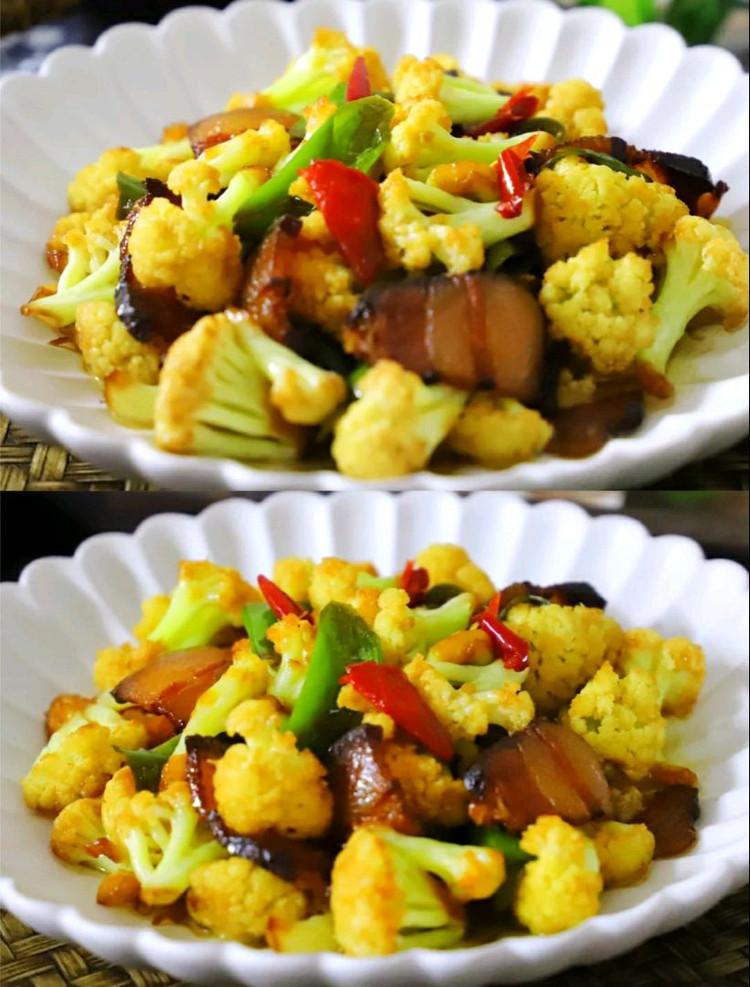 干锅花菜材料:花菜1棵,腊肉1小块,青椒2个,小米椒1个,大蒜2瓣,盐适量,生抽1勺,糖适量,油适量做法:、准备好材料,花菜1棵,腊肉1小块,青椒2个,小米椒1个,大蒜2瓣。腊肉清洗干净切成薄片,腊肉可以换成新鲜的五花肉。花菜掰成小朵,清洗干净后放在淡盐水中漫泡下,倒去水后把少许盐撒在花菜的表面,腌10分钟,这样做,可以使花菜脱去水分,再下锅,不但能快速炒熟还能保持花菜清脆的口感。青椒和小米椒分別图5