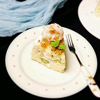 你的笑好甜的蛋糕造型的土豆泥沙拉