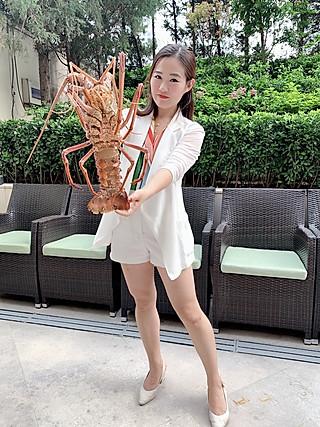 珊妮儿吃东西的近距离接触并吃掉澳洲岩龙虾🦞