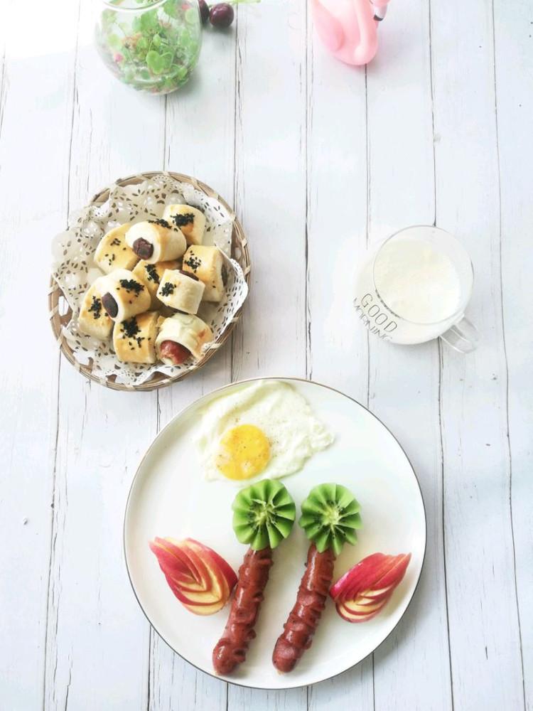 一口酥➕苹果奶昔➕黑椒肠,鸡蛋,猕猴桃图3