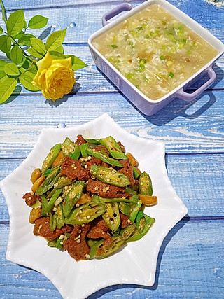 珍惜初心的土豆丝疙瘩汤、秋葵牛柳
