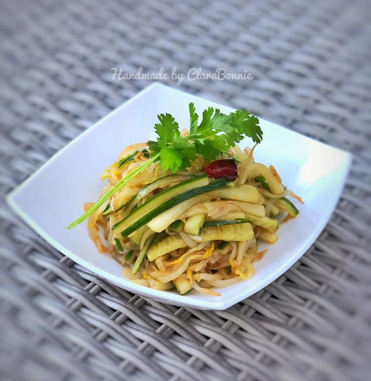 炝黄瓜绿豆芽—快手菜、健康素食图1