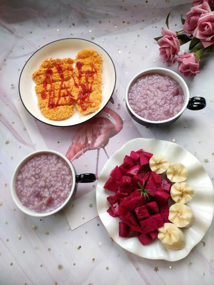 紫薯粥,烤鸡排图1
