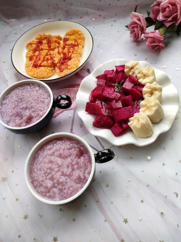 紫薯粥,烤鸡排图3