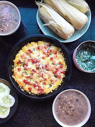 一只飘渺的鱼的<topic id='271'>秀早餐</topic> 娃的辅食:木耳菜鳕鱼 大人的:绿豆薏米粥,馒头香肠披萨,煮玉米,拌黄瓜。家里自己种的,都是有机的哦