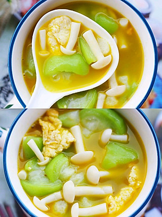 西蘭的丝瓜菌菇鸡蛋汤
