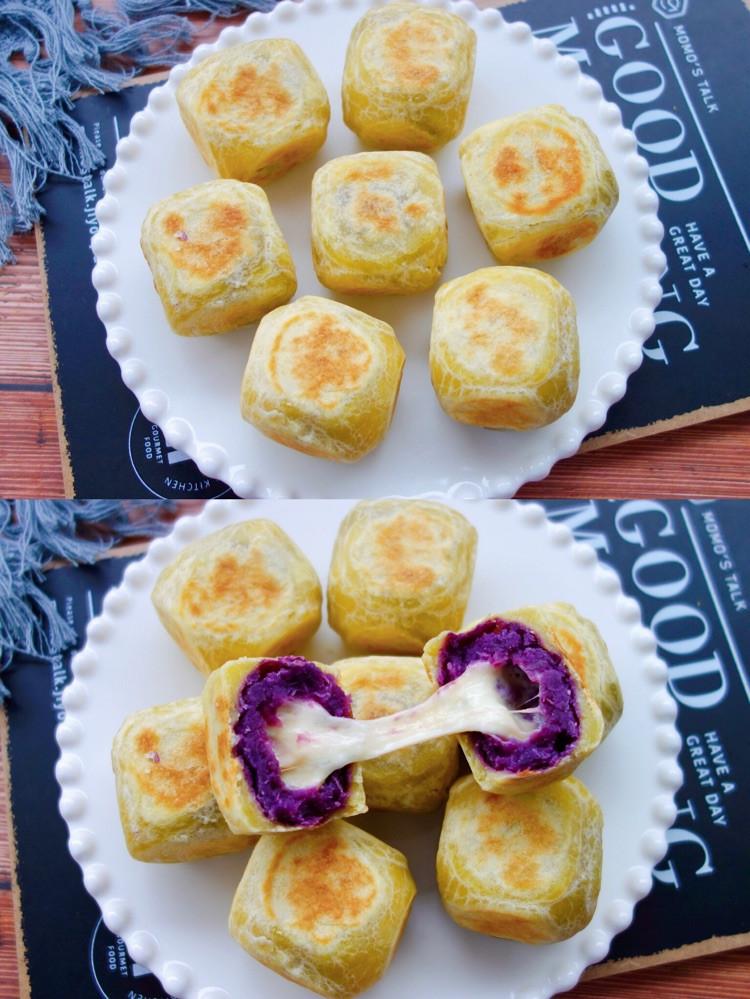 ㊙️平底锅就能搞定❗️一口爆浆的网红紫薯芝士仙豆糕❗️图2