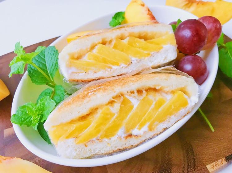 酸奶黄桃三明治🥪 吐司加水果好吃的不得了哦😁图1