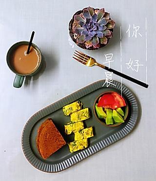 罗勒酱的早安 咖啡+咖啡戚风+香菜厚蛋烧+蜜瓜蕃茄