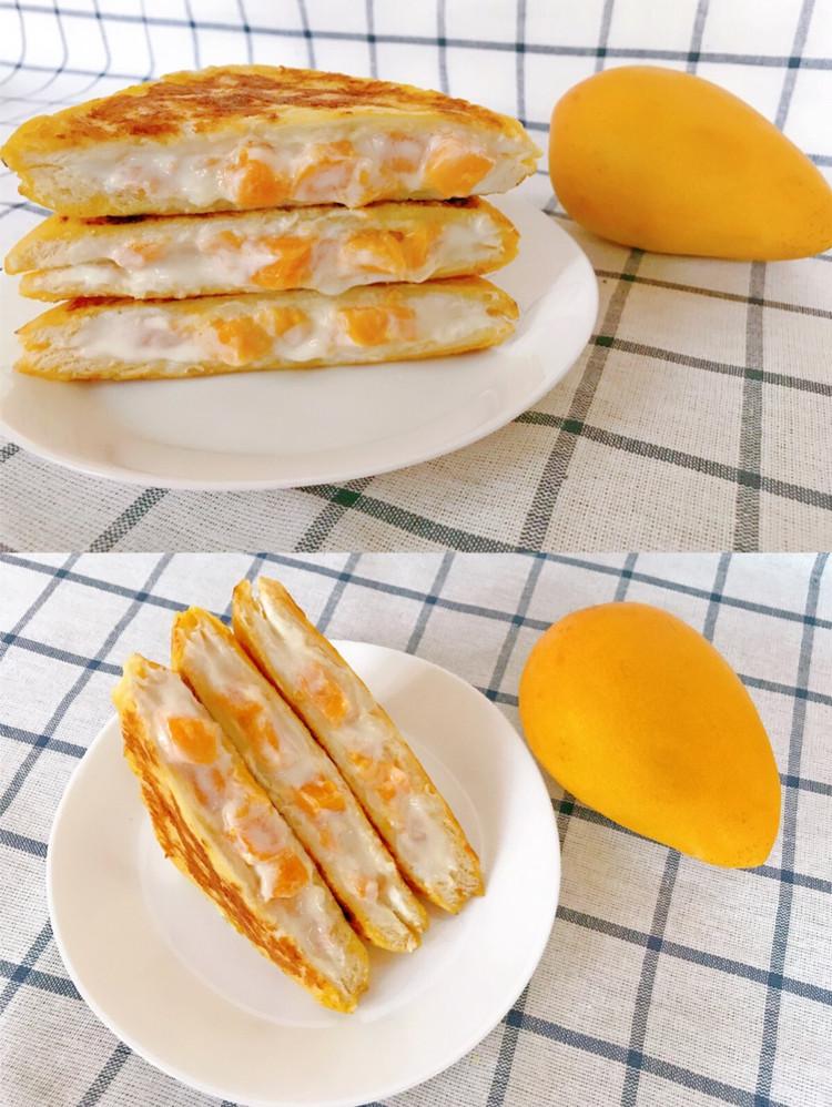 🔥5分钟快手早餐‼️巨好吃的🍞芒果酸奶吐司❗️非烤箱❗️图2