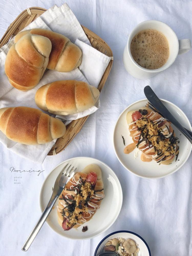 """米粉面包卷原来用大米面包粉做的面包这么软给""""哥哥""""做成了热狗他好喜欢图2"""