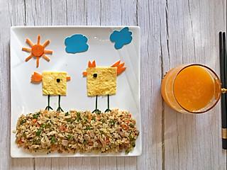 四喜妈妈的8月5日早餐:鸡肉豇豆炒饭+鲜榨橙汁