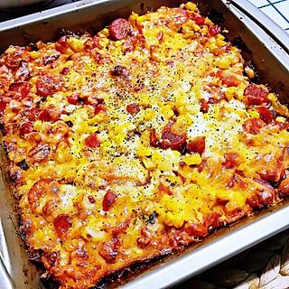 愿你美好的闺蜜👭给我秀了必胜客的披萨🍕我却只有几片面包➡️火腿披萨