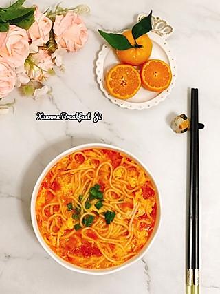 萱妈早餐记的🍽早餐日记❥西红柿鸡蛋面🍜